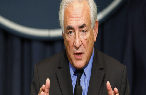 Former IMF chief Strauss-Kahn speaks during a news conference in Belgrade